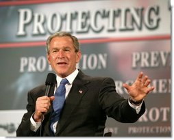 President George W. Bush speaks during a conversation on the USA Patriot Act in Buffalo, N.Y., Tuesday, April 20, 2004.  White House photo by Eric Draper