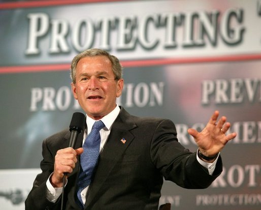 President George W. Bush speaks during a conversation on the USA Patriot Act in Buffalo, N.Y., Tuesday, April 20, 2004. White House photo by Eric Draper.
