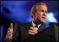 President George W. Bush speaks at the Newspaper Association of America Annual Convention at the Omni Shoreham Hotel in Washington D.C. on April 20, 2004. White House photo by Paul Morse.