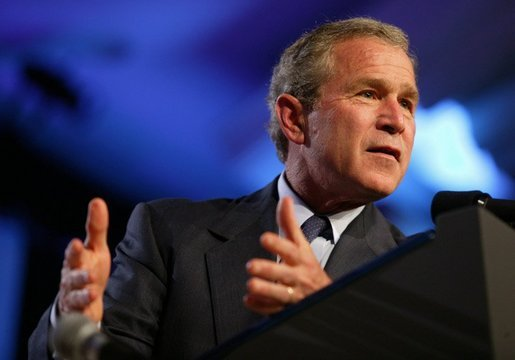 President George W. Bush speaks at the Newspaper Association of America Annual Convention at the Omni Shoreham Hotel in Washington, D.C., Wednesday, April 21, 2004. White House photo by Paul Morse