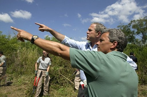 "President George W. Bush tours Rookery Bay National Estuarine Research Reserve with its director Gary Lytton in Naples, Fla., Friday, April 22, 2004. ""Of all the coastal wetlands in the lower 48 states, 20 percent are right here in Florida. This is a legacy we need to protect and pass along,"" said the President in his remarks. White House photo by Eric Draper"