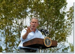 "President George W. Bush discusses the restoration of wetlands at Rookery Bay National Estuarine Research Reserve in Naples, Fla., Friday, April 22, 2004. "". my administration will work to restore, to improve, and to protect at least three million acres of wetlands over the next five years ,"" said the President in his remarks.  White House photo by Eric Draper"
