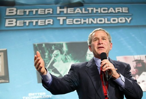 President George W. Bush participates in a conversation on the benefits of health care information technology at the Department of Veterans Affairs Medical Center in Baltimore, Maryland on April 27, 2004. White House photo by Paul Morse