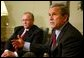President George W. Bush answers reporter's questions after meeting with Swedish Prime Minister Goran Persson in the Oval Office Wednesday, April 28, 2004. White House photo by Paul Morse.