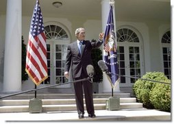 President George W. Bush addresses the press in the Rose Garden Thursday April 29, 2004.  White House photo by David Bohrer