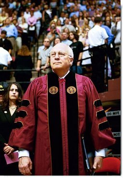 Vice President Dick Cheney waits to address the audience of the Florida State University Commencement Ceremony in Tallahassee, Fla., Saturday, May 1, 2004.  White House photo by David Bohrer