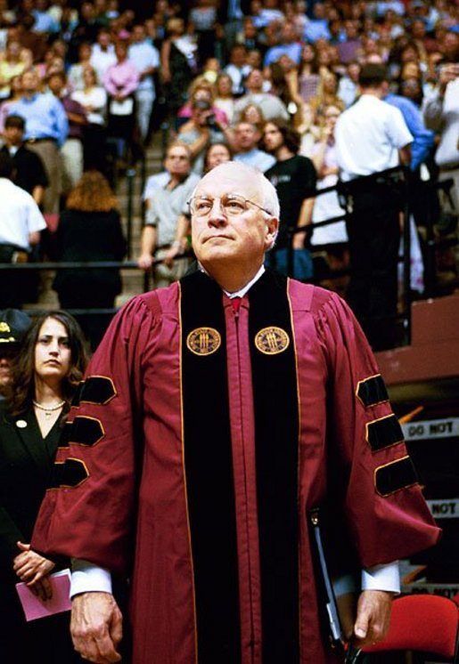 Vice President Dick Cheney waits to address the audience of the Florida State University Commencement Ceremony in Tallahassee, Fla., Saturday, May 1, 2004. White House photo by David Bohrer.