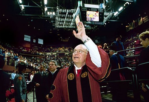 After delivering remarks, Vice President Dick Cheney waves goodbye to those in attendance at the Florida State University Commencement Ceremony in Tallahassee, Fla., Saturday, May 1, 2004. White House photo by David Bohrer.