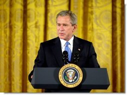 "President George W. Bush speaks during the White House ceremony honoring Cinco de Mayo in the East room Wednesday, May 5, 2004. ""We value the heritage and the contribution of Mexican Americans in our country, and we respect our friend and neighbor, the great nation of Mexico,"" said the President in his remarks.  White House photo by Paul Morse"