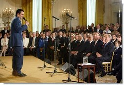 Television host Marco Antonio Regil emcees the White House ceremony honoring Cinco de Mayo in the East room Wednesday, May 5, 2004  White House photo by Paul Morse