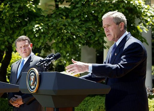 President George W. Bush and His Majesty King Abdullah Bin Al Hussein of Jordan hold a joint press conference in the Rose Garden Thursday, May 6, 2004. White House photo by Paul Morse