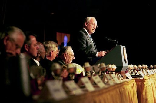 "Vice President Dick Cheney delivers remarks at the 16th Annual National Fire and Emergency Services Dinner at the Washington Hilton in Washington, D.C., Wednesday, May 5, 2004. ""We must support our nation's firefighters and emergency personnel, because the demands of your job are greater than ever. You are prepared, after all, for the millions of calls that must be answered every year. And in this period of testing for America, every firefighter knows that the next alarm could be a terrorist attack. You have always been essential to the security of our communities, and now you are essential to the defense of our homeland."" said the Vice President in his remarks. White House photo by David Bohrer"