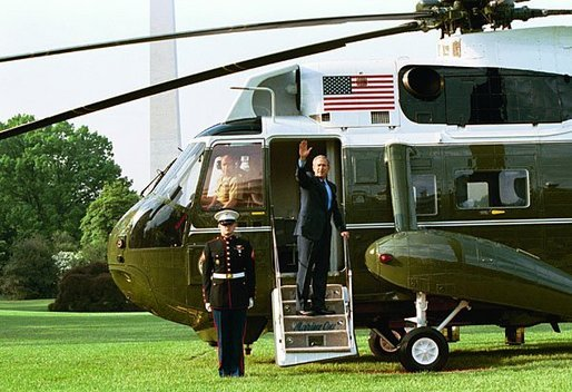 President George W. Bush waves from Marine One as he departs the White House Friday, May 7, 2004. White House photo by Paul Morse.