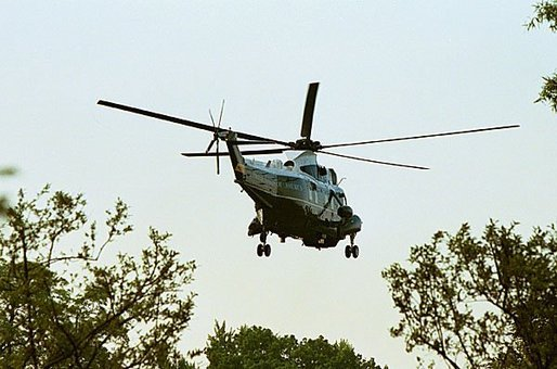Marine One departs from the South Lawn Friday, May 7, 2004. White House photo by Paul Morse.