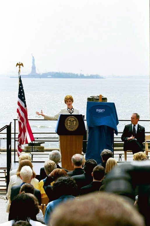 Mrs Bush delivers remarks at Battery Park in New York City May 10, 2004. White House photo by Tina Hager