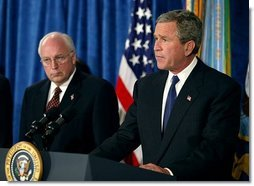 President George W. Bush addresses the press after meeting with his national security team at the Pentagon in Arlington, Va., Monday, May 10, 2004.  White House photo by Paul Morse
