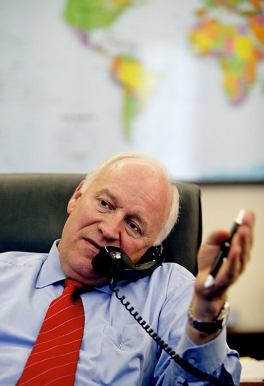 Vice President Dick Cheney participates in a telephone interview with journalist Tony Snow from his office in the West Wing, Tuesday, May 11, 2004. White House photo by David Bohrer
