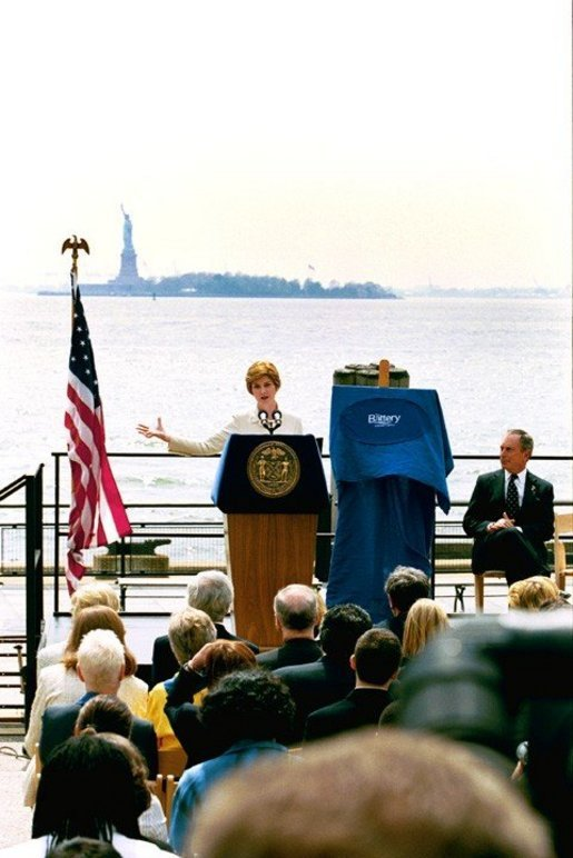 Highlighting the First Lady's Preserve America initiative, Laura Bush and New York City Mayor Michael Bloomberg announce the re-opening of the Statue of Liberty during a ceremony in New York's Battery Park Monday, May 10, 2004. The statue has been closed since the September 11th terrorist attacks. White House photo by Tina Hager