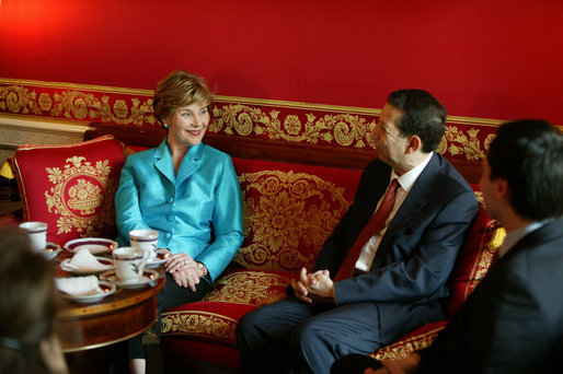 Laura Bush, Honorary Ambassador for the Decade of Literacy, meets with UNESCO's Assistant Director General for Culture Mounir Bouchenaki in the Red Room of the White House Wednesday, May 12, 2004. White House photo by Tina Hager