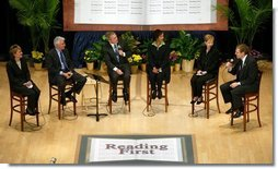 President George W. Bush participates in a conversation on Reading First and the No Child Left Behind Act at the National Institutes of Health in Bethesda, Maryland on May 12, 2004.  White House photo by Paul Morse