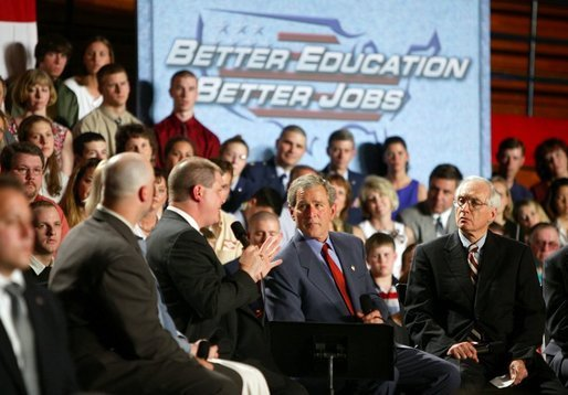 President George W. Bush participates in a conversation on High School Initiatives at Parkersburg South High School in Parkersburg, W. Va., Thursday, May 13, 2004. White House photo by Paul Morse