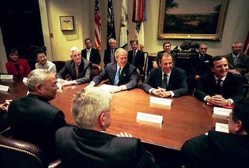 President George W. Bush meets with G-8 foreign ministers in the Roosevelt Room Friday, May 14, 2004. They are, from left: Yoriko Kawaguchi of Japan, Michel Barnier of France, Sergey Viktorovich Lavrov of Russia and Franco Frattini of Italy. President Bush will host the 30th G-8 Summit in Sea Island, Ga., June 8-10, 2004. White House photo by Eric Draper.