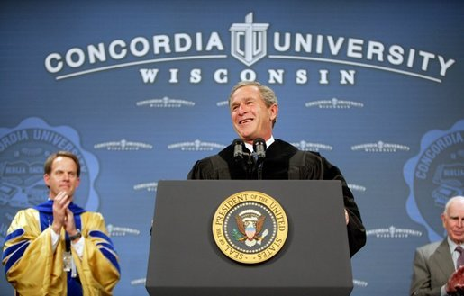 President George W. Bush is greeted with cheers as he begins his address at the commencement ceremonies for Concordia University near Milwaukee, Wis., Friday, May 14, 2004. White House photo by Paul Morse.