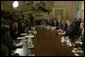 President George W. Bush answers reporters' questions during a Cabinet Meeting at the White House Wednesday, May 19, 2004.  White House photo by Joyce Naltchayan