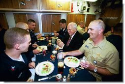 After delivering the commencement address at the U.S. Coast Guard Academy, Vice President Dick Cheney has lunch with sailors aboard the attack submarine USS Virginia Wednesday, May 19, 2004. The Vice President visited the Groton, Conn., boat yard to thank enlisted sailors and officers for their service, and to receive a briefing on the ship's capabilities.  White House photo by David Bohrer