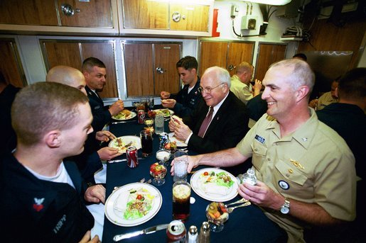 After delivering the commencement address at the U.S. Coast Guard Academy, Vice President Dick Cheney has lunch with sailors aboard the attack submarine USS Virginia Wednesday, May 19, 2004. The Vice President visited the Groton, Conn., boat yard to thank enlisted sailors and officers for their service, and to receive a briefing on the ship's capabilities. White House photo by David Bohrer.