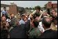President George W. Bush greets military personnel and their families at Youngstown Air Reserve Station in Vienna, Ohio, Tuesday May 25, 2004. White House photo by Paul Morse