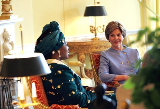 Laura Bush meets with Edith Lucie Bongo Ondimba, First Lady of Gabon in the Yellow Oval Room Wednesday, May 26, 2004. White House photo by Tina Hager.