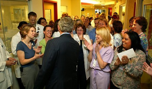 President George W. Bush visits doctors and nurses at Vanderbilt Children's Hospital in Nashville, Tenn., May 27, 2004. White House photo by Paul Morse