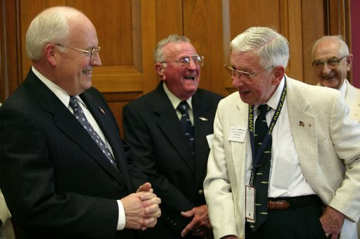 Vice President Dick Cheney meets with USS Bashaw Plankowners (left to right) John Grohowski, Ellis Howard and Sam Chiarelli on Capitol Hill Friday, May 28, 2004. The Plankowners are in Washington, D.C. to attend World War II commemoration activities. White House photo by Joyce Naltchayan.