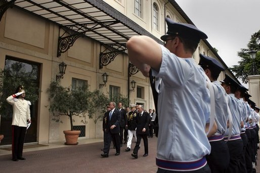 President George W. Bush arrives at the Quirinale Palace in Rome, Italy prior to his meeting with the President Carlo Ciampi of Italy, Friday, June 4, 2004. White House photo by Paul Morse