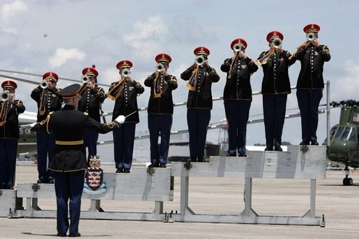 A band plays during the arrival ceremonies for the leaders of the G8 member nations at Hunter Army Airfield in Savannah, Ga., Tuesday, June 8, 2004. White House photo by Paul Morse
