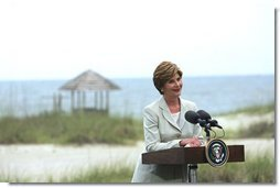 Laura Bush delivers remarks at a Media Availability following the G8 Spouses Luncheon Roundtable, in Sea Island Georgia, June 9, 2004.  White House photo by Tina Hager