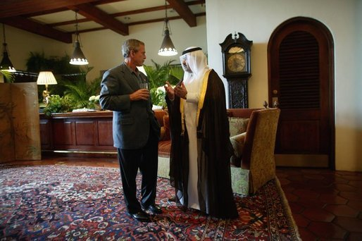 President George W. Bush and Iraq's new interim President Ghazi al-Yawer talk at the G-8 Summit on Sea Island, Ga., Wednesday, June 9, 2004. White House photo by Eric Draper.
