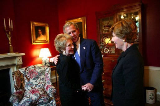 President George W. Bush and Laura Bush greet Nancy Reagan at the Blair House in Washington, Thursday, June 10, 2004. White House photo by Eric Draper.
