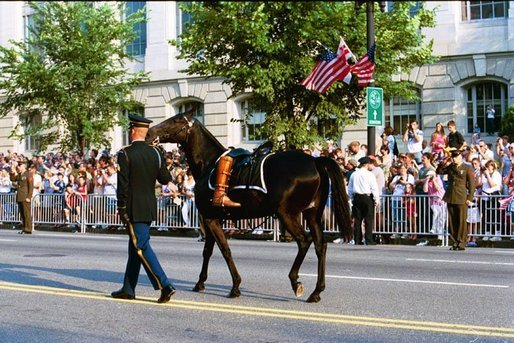 A riderless black horse, with a pair of former President Ronald Reagan's favorite boots turned backward in the stirrups, symbolising the death of a military leader, follows a horse-drawn caisson carrying his casket, Wednesday, June 9, 2004. White House photo by Joyce Naltchayan.