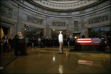 Vice President Dick Cheney delivers the eulogy for former President Ronald Reagan during the State Funeral Ceremony in the Rotunda of the U.S. Capitol Wednesday, June 9, 2004. White House photo by David Bohrer. White House photo by David Bohrer
