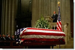 President George W. Bush delivers eulogy at the funeral service for former President Ronald Reagan at the National Cathedral in Washington, DC on June 11, 2004.  White House photo by Paul Morse