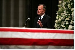 Former President George H.W. Bush delivers a eulogy for former President Ronald Reagan during the funeral service at the National Cathedral in Washington, DC on June 11, 2004.  White House photo by Eric Draper
