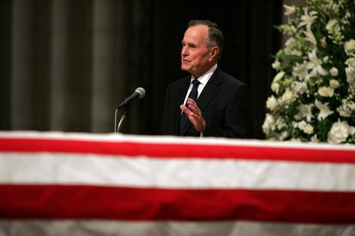Former President George H.W. Bush delivers a eulogy for former President Ronald Reagan during the funeral service at the National Cathedral in Washington, DC on June 11, 2004. White House photo by Eric Draper.