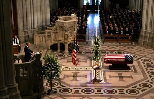 President George W. Bush delivers eulogy at the funeral service for former President Ronald Reagan at the National Cathedral in Washington, DC on June 11, 2004. White House photo by Paul Morse.