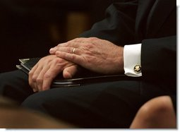 President George W. Bush waits for his chance to deliver his eulogy for former President Ronald Reagan at the National Cathedral in Washington, DC on June 11, 2004.  White House photo by Eric Draper