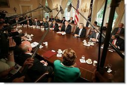 President George W. Bush meets with members of his Cabinet during a Cabinet Meeting at the White House Thursday, June 17, 2004.  White House photo by Eric Draper