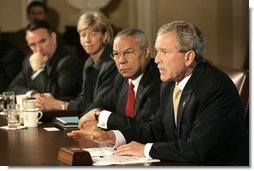 President George W. Bush answers questions from the press before a Cabinet Meeting at the White House Thursday, June 17, 2004.  White House photo by Eric Draper