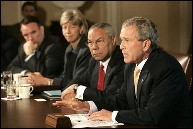 President George W. Bush answers questions from the press before a Cabinet Meeting at the White House Thursday, June 17, 2004
