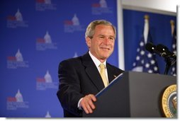 President George W. Bush delivers remarks to the National Federation of Independent Business (NFIB) 2004 Small Business Summit in Washington, D.C., Thursday, June 17, 2004.  White House photo by Paul Morse
